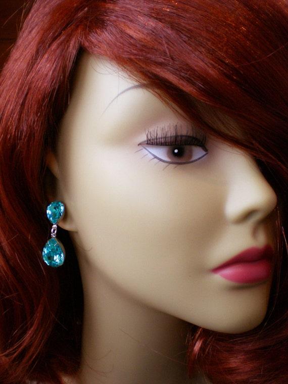 Crystal Paradise Shine Rhinestone Earrings Swarovski Purple Green Wedding Jewelry Bridesmaid Earrings. ◅. ▻ - il_570xN.588509117_hoiu