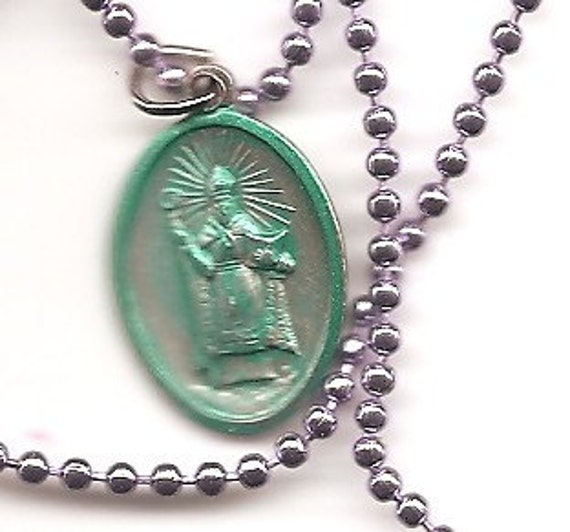 Get Your Mojo Workin, St. Ciprian Patron Saint Medal on Purple Ball Chain