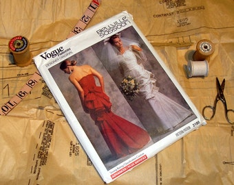 RARE and UNCUT Vogue Pattern 2180 - Bellville Sassoon - Dress and Bridal Gown - Misses Size 6-16 -