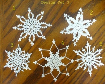 Crocheted Christmas Snowflake - Small Doily - Design Set 3 - Mix and Match Snowflakes