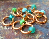 Dangle Free Knitting Stitch Markers - Green Mix Copper Or Brass Wire - Choose Ring Size and Quantity