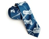 "Video game tie. Game controller men's necktie. Geek chic gaming gift. ""Control Freak,"" console joystick silkscreen tie."