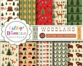 40% off Woodland Letter Digital papers with Forest animals, mushrooms, acorns and pine trees. INSTANT DOWNLOAD