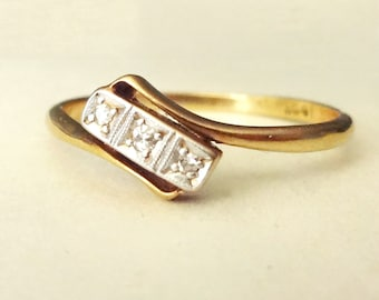 Art Deco Geometric Diamond Trilogy Ring, 18k Gold & Platinum Diamond Antique Engagement Ring, Approximate Size US 7.5