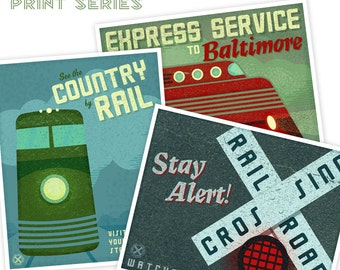 Kids Train Art- For Kids Room- Train Station Posters Set of 3- Art for Boys Room- Art Train Prints- Kids Train Decor- Train Poster- Boy Art