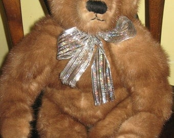 Original Handcrafted Teddy Bear 20 Inches Tall Created from Vintage Mink Jacket
