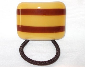 Glass Ponytail Holder, Light and Dark Amber and White Fused Glass, Handmade Hair Accessories, Women's Accessories, Curved Hair Tie