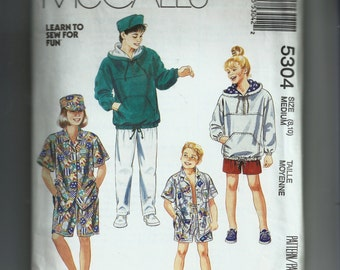 McCall's Boy's and Girl's Sweatshirt, Shirt, Pants or Shorts and Hat Pattern 5304