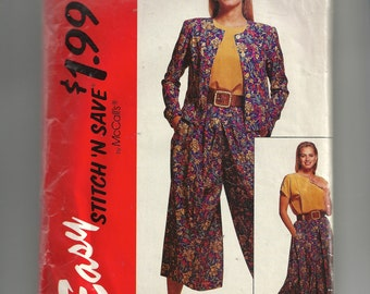 McCall's Misses' Unlined Jacket , Blouse, and Split Skirt Pattern 6086