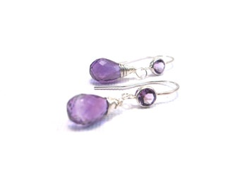 Amethyst Gemstone Sterling silver Drop Earrings