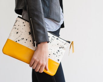 READY TO SHIP Splatter Print Clutch in Taxi Cab Yellow, Anna Joyce,