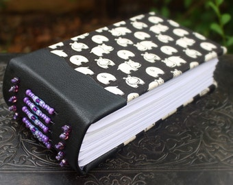 HAPPY HIPPO Art JOURNAL Blank Book Sketch Book Kawaii Purple Beaded Black Leather Spine Japanese Fabric Guest Book