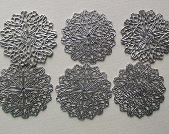 Six antiqued silver filigree finding