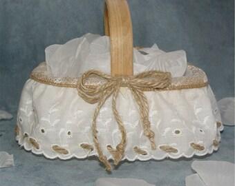 Flower girl basket, burlap, rustic, country wedding, rural, eyelet, lace, jute twine