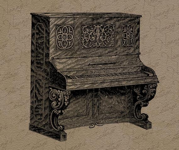 Antique Upright Piano Clip Art Advertisement Vintage Digital Graphics    Upright Piano Clip Art