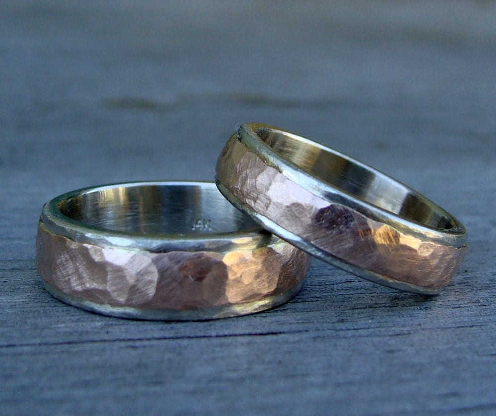 Recycled Wedding Bands Rings Set Of 2 14k By McFarlandDesigns