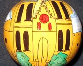 """Hand-Painted Gourd Christmas Ornament/decoration by Artist Sandy Short """"San Albino, Mesilla, New Mexico""""."""