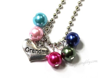 ONE Charm necklace YOU CHOOSE Mother Grandma Grandmother Gift Birthstone Jewelry pearl colors of grandchildren children kids Gift from kids.
