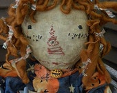 EXTREME Primitive, Very Primitive, Raggedy Ann, Halloween, Fall, Pumpkin, Jackolantern, Spooky, Old Rag Doll, Old Cloth Doll, Antique, Doll