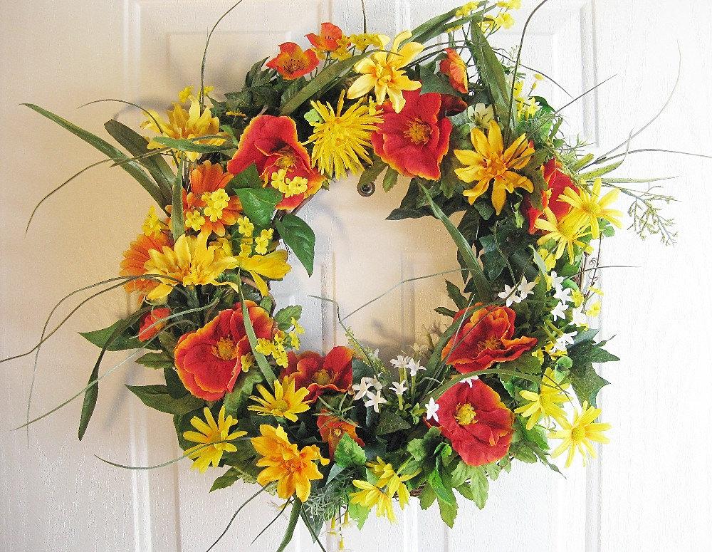 Summer wreath front door wreath outdoor by gigisgiftsandwreaths