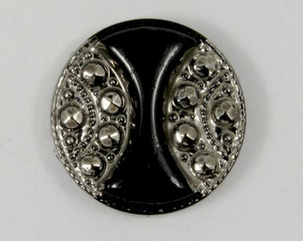 13mm Black and Silver Vintage Glass Cabochon  #1241
