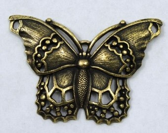 40mm Antique Brass Butterfly Charm #CMB758