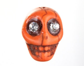 14mm Orange Howlite Skull w/ Rhinestone Eyes (2 Pcs) #3006
