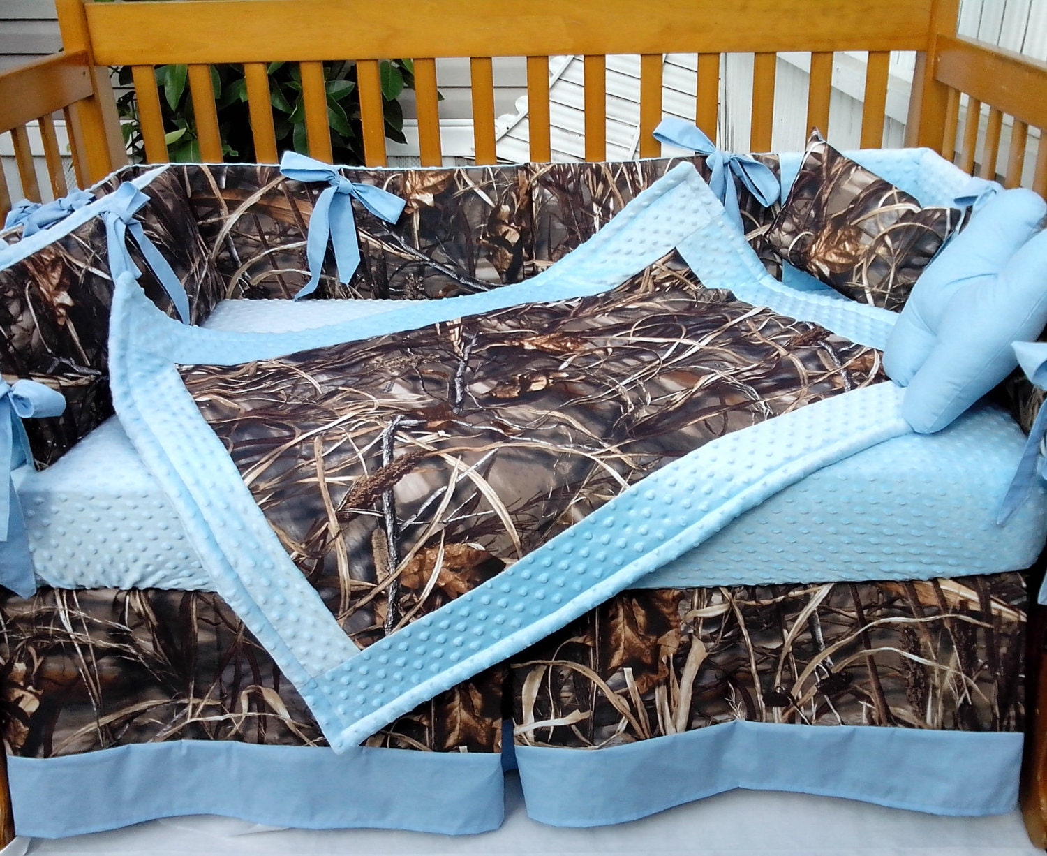 7pc Camo Mossy Oak Fabric Pink Crib Bedding Nursery Set: 7 Piece Real Tree MAX 4 Advantage CAMOUFLAGE And Baby Blue