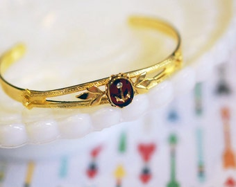 vintage gold plated anchor bangle with rhinestone detail- nautical fall - burgundy