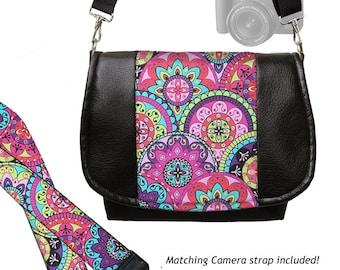 SET Vegan Leather Camera Bag Purse and DSLR Camera Strap, Paisley pink purple blue yellow MTO