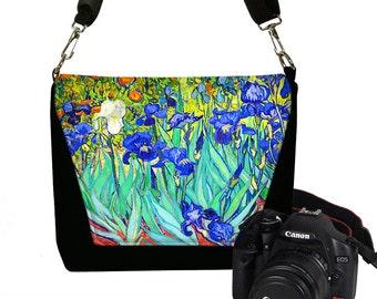 Womens Dslr Camera Bag Purse Van Gogh Irises, Messenger Bag, SLR Camera Case for Canon Nikon, Zipper Pocket, blue iris orange RTS