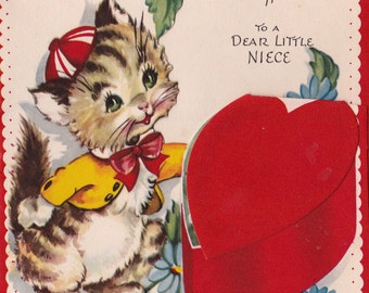 Vintage 1940s A Valentine Message To A Dear Little Niece Greetings Card (B7)