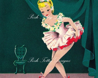 Vintage 1950s Ballerina Taking A Stage Bow Greetings Card Digital Download Printable Images (431)