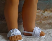 "Doll Sandals for 18"" doll and 13, 14, and 14.5"" Various Other Dolls (You Select Size) White Lace and Ribbon Medley"