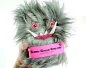 Worry Woolie monster Notebook gray and pink