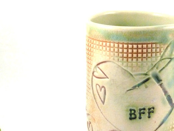 Personalized Ceramic Cup BFF with dragonflies, birds and hearts -   pottery Mug for best friend - Teacup - Beer Mug, Stein, Tankard