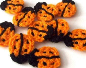 Crochet Ladybug Appliques, Orange Crochet Ladybugs, Ladybug Embellishment, Scrapbooking, Set of 10, Crochet Ladybug Motif
