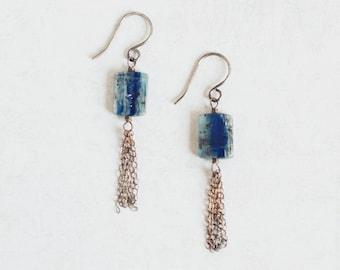 Blue KYANITE dark oxidised sterling silver long tassel earrings