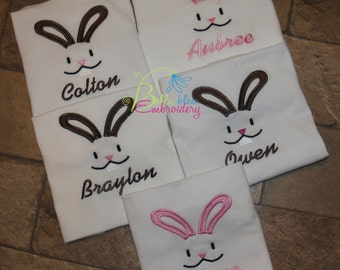Custom Embroidered Easter Bunny Face Personalized free first class shipping in the US