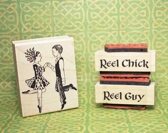 Irish Dancers Boy and Girl Rubber Stamp Set with 3 Designs Reel Chick Reel Guy