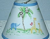 ON SALE Jungle Friends Lamp Shade Kids Baby Nursery Decor handmade with Pottery Barn Kids fabric, Lamp Shade, Any Color Trim, 4 Sizes