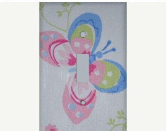 ON SALE Lindsey Butterfly Switchplate cover handmade with Pottery Barn Kids fabric