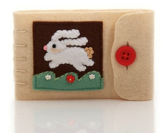 Rabbit Needle Case, Hand Embroidered Wool, Felt Pages, Small Tan Pin Keep, Sewing Supply, Needle Keeper, Travel Sewing Kit, Sewer Gift