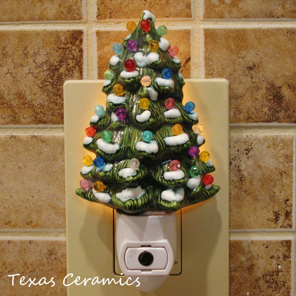 Automatic Christmas Tree: Ceramic Christmas Tree With Snow Night Light By TexasCeramics