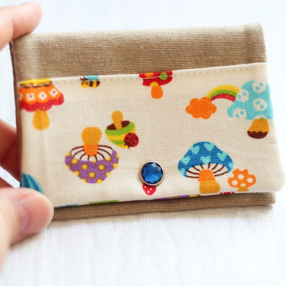 Card holder - mushrooms  - blue - green - red - orange - snap - business cards - shopping cards - pillbox - handbag
