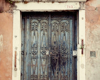 door photography, venice italy, ironwork, blue decor, pink decor, architecture, travel photography, venice phototography V30