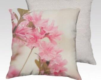 decorative pillow cover, throw pillow, photography pillow cover, home decor, pink azaleas, flower photography, pink decor