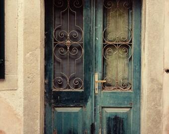 europe photography, door photo, dubrovnik croatia, blue decor, distressed, rustic art, artchitecture, ironwork D21