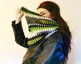 Lime Green Black + White Hand Crochet Cowl Scarf with Random Stripe Pattern - Ecofriendly Handmade Striped Circle Infinity Scarf Eco Upcycle