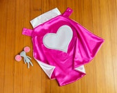 Girl Superhero Cape by Little Hero Capes - Hot Pink and Light Pink- Heart Design